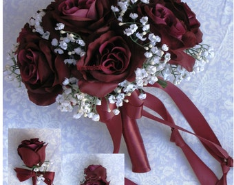 New Artificial Wine Wedding Flowers, Wine Bridal Bouquet, Wine Wedding Bouquet