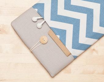 "Macbook 15  sleeve, 15 inch Macbook case, 15"" macbook pro retina cover, macbook 15 sleeve - Blue chevron"