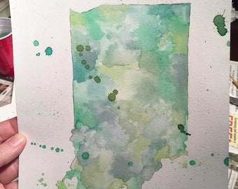 State Sillouette Watercolors 11x14