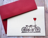 Tandem Bicycle Thank You Cards Stationery Note Card Set
