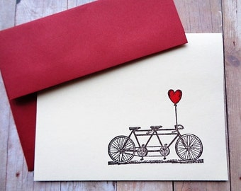 Tandem Bicycle Note Card Thank You Cards Valentine's Day Wedding Red Heart Balloon Stationery Note Card Set