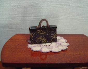 Dollhouse handbag purse miniature black tan paisley 1:12 scale full scale