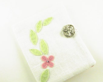 Tea Bag Wallet Pink Forget Me Not and Leaves