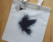 Skybound Raven Crown Wings Bird Feather Art Tote Bag Beautiful Fantasy Zindy Nielsen