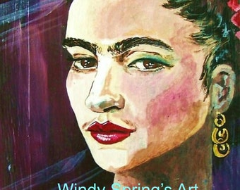 Frida Kahlo Portrait by Windy Spring 12x16 ORIGINAL PAINTING Mexican Folk Art