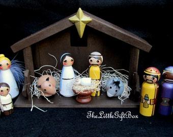 Nativity Set of 14 pieces/ hand painted / wood peg dolls/ Christmas Nativity