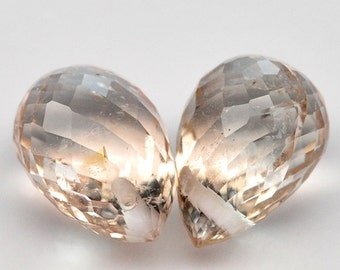 2 PIECE 3.75 Ct. Grougous Natural Gem Briolette Drill Imperial Champagne Topaz - Free shipping
