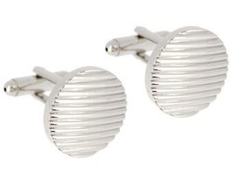 Silver Stripes Round Cufflinks  CODE: 1200496