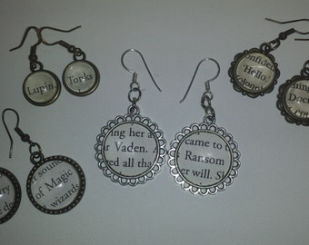 Custom Book Page Earrings Stainless Steel or Antiqued Bronze dangle drop - made using Actual Book Pages - Nickel Free