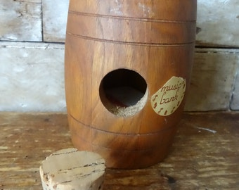 Vintage Wooden Music Barrel  Bank Primitive Farm Chic Adorable Collectible Roll Out The Barrel