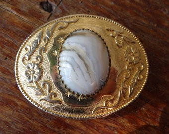 Vintage Belt Buckle  Great American Western Floral Design With Stone