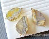 3 Druzy connector Agate connector, pendent 24 kt. Gold Plated edge Connector in Yellow color gemstone connector -Jsp-5870