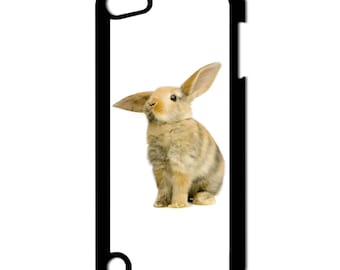 Listening Bunny Rabbit Easter Animals Apple iPod Touch 5th Generation Hard Case (Choose Case Color)