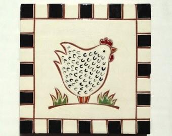 "White chicken handmade ceramic tile, coaster or wall hanging 6"" x 6"""
