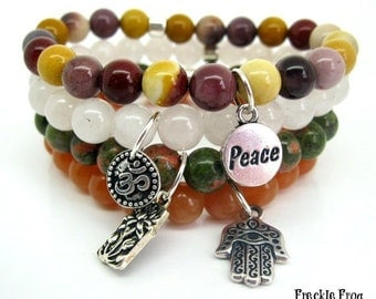 Stacking Bracelet - Mookaite with Peace Charm, Wellbeing, Yoga Beads, Spiritual Jewellery