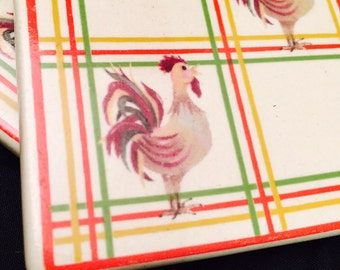 Ceramic Tile Coasters Trivets Rooster Set Of Three Country Rustic Vintage Tiles