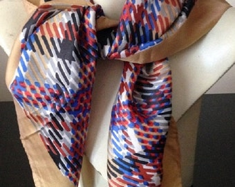60's Silk  Bandana Red, Blue and Tan Large Printed Plaid