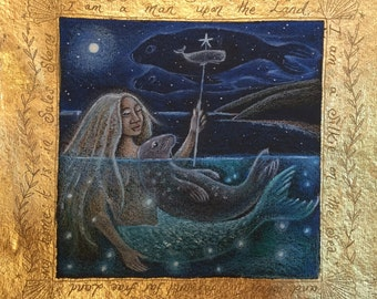 Selkie. Seal and mermaid limited edition of 25 signed print.