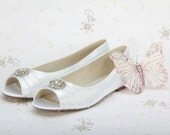 Wedding Shoe - Wedding Flats - Bridal Shoe - Flat Wedding Shoe - Wedding Shoe With Peep Toe- Wedding Flats -Dyeable Wedding Flats 200 Colors