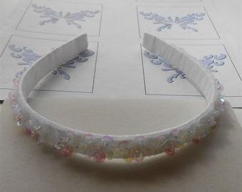 White Sequin Flowers Headband Sequins Headbands Wedding Prom Tiaras Crowns Halos First Communion Headbands Handmade Hair Accessories Gifts
