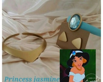 Disney's princess jasmine costume necklace.earrings.and headband child size
