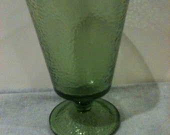 Vintage Green Footed Textured Glass