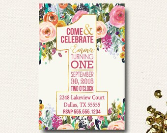 First Birthday Invitation Floral Boho Chic Invite One Shape Typography Gold Pink Flowers