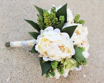 White/Cream Peony Bouquet with Succulent (Artificial)