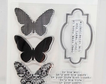 KaiserCraft Kaleidoscope Clear Stamps -- Acrylic -- Butterflies Frames Quotes
