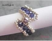 Beaded Ring Tutorial Pattern -  Swarovski Purple S Ring (RG181) - Beading Jewelry PDF Tutorial (Instant Download)