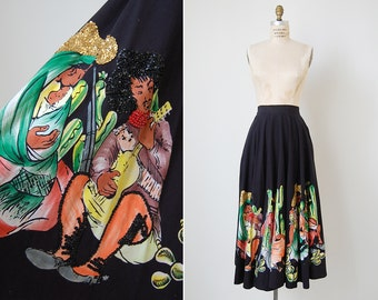 vintage Mexican skirt / beaded Mexican skirt / hand painted skirt / Guanajuato skirt