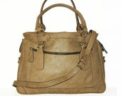 "TAN Leather Tote Bag Cross-body Bag Rina extra large, fits a 17"" laptop"