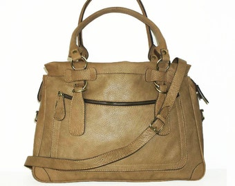 """TAN Leather Tote Bag Cross-body Bag Rina extra large, fits a 17"""" laptop"""