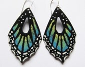 Butterfly jewelry Big enameled blue butterfly wing earrings Bohemian statement nature inspired jewelry