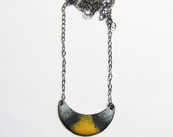 Crescent moon necklace Yellow gray enamel bib necklace pendant Enameled bohemian jewelry