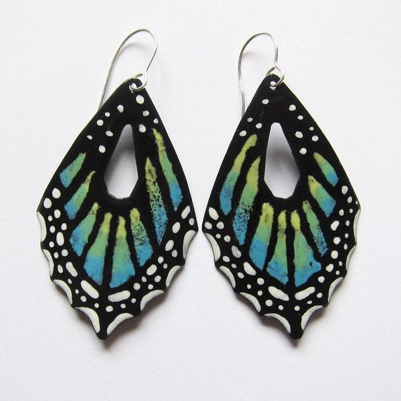 Butterfly jewelry Big enameled blue butterfly wing earrings Bohemian statement nature inspired jewelry