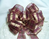 Burgundy and Gold Bow Fall Autumn Thanksgiving Christmas Great for Wreath or Holiday Decoration Gift Elegant Classy