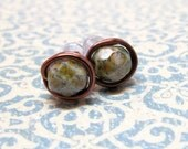 Navy Blue, Brown, and Green Picasso Copper Wire Wrapped Stud Earrings, Copper Green Stud Earrings