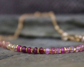Pink Sapphire and gold filled gemstone beaded bracelet, blue sapphire stone bracelet, stacking stone bracelet, gold filled chain bracelet
