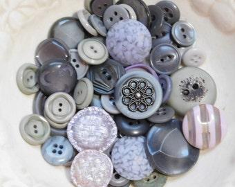 Vintage button destash silver grey button lot sewing buttons