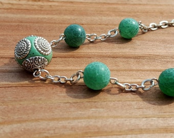 Green Glass Bead Necklace with Green Silver Acrylic Focal Bead Minimalist Spring Summer