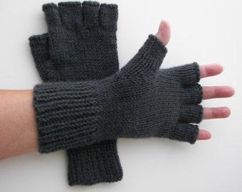 ALPACA Hand Knit Half Finger GLOVES in Slate Grey / Charcoal Black Berroco Ultra Alpaca