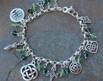 Deluxe Celtic Symbols Charm Anklet or Women's Plus Size bracelet- emerald & peridot green crystals, heavy sterling chain - free shipping USA