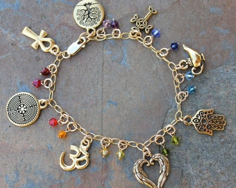 Anklet or Womens Plus Size Chakra Colors Ancient Religions Gold Charm Bracelet- om, hamsa, tree of life, cross, ankh, labyrinth, angel wings