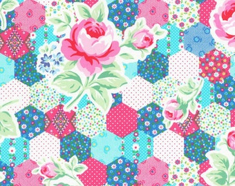 SALE Turquoise Hexagon cheater print from Flower Sugar Spring 2015 by Lecien of Japan 31128L-70