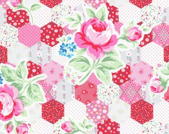 SALE Red and pink Hexagon cheater print from Flower Sugar Spring 2015 by Lecien of Japan 31128L-30