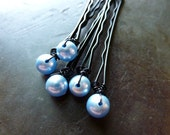 6mm Light Blue Swarovski Pearl Bobby Pins - Set of 5