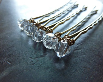 6mm Clear Swarovski Crystal Bobby Pins - Set of 5
