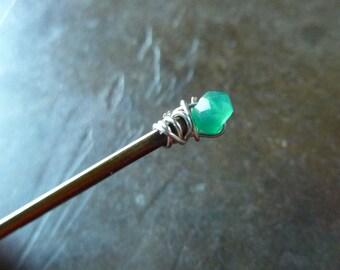 4mm natural Green Onyx Bobby Pin - Gemstone Bobby Pin