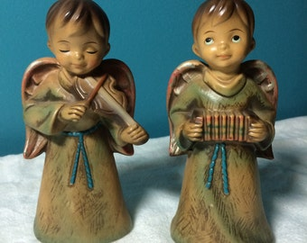 Angels Pair Playing Instruments Vintage 1970's Christmas Decorations